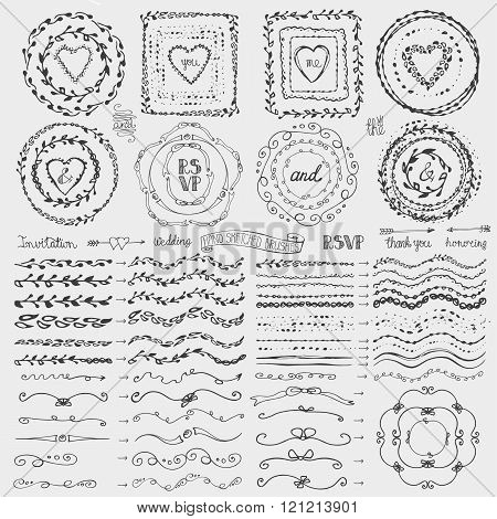 Doodle frame,brushes,wreath decor set.Black