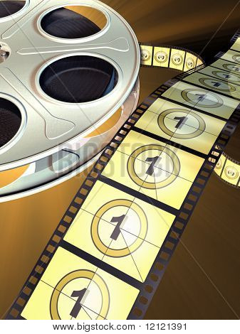 Movie film reel on dark background. Countdown shown on celluloid. Digital illustration.