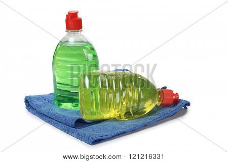 Cleaning products in plastic bottle on white background