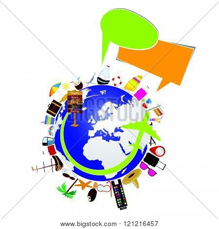 Planet Earth With Travel Sign Illustration