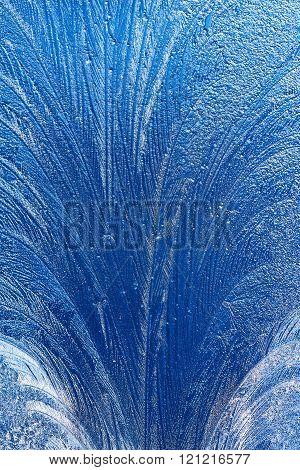 ice patterns on winter glass