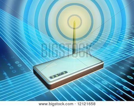 Módem inalámbrico de transmisión de datos digitales. Ilustración digital.