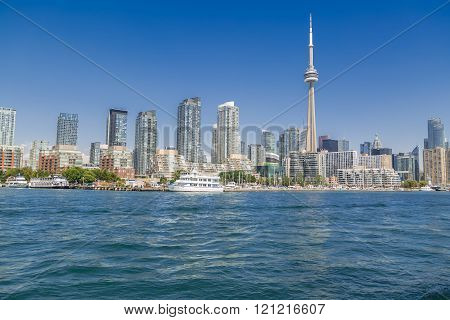 Toronto, Ontario, Canada, Aug.15, 2015, Amazing view of Toronto skyline on sunny summer day