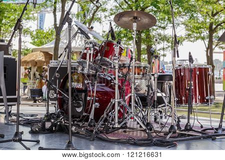Amazing closeup detailed view of drum kit setup standing on concert outdoor stage