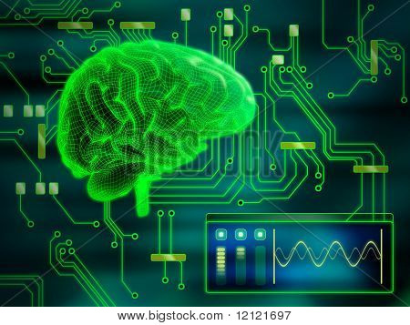 An human brain as a central processing unit. Digital illustration.