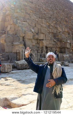 Friendly Man At Pyramids In Giza