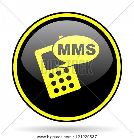 mms black and yellow modern glossy web icon