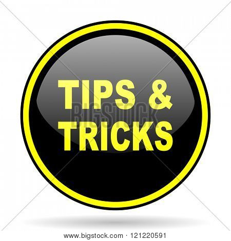 tips tricks black and yellow modern glossy web icon