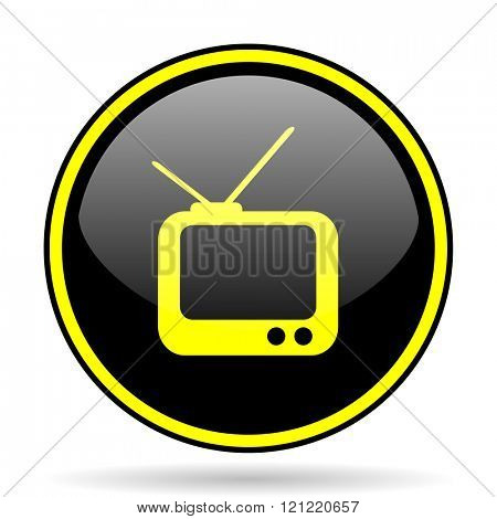 tv black and yellow modern glossy web icon