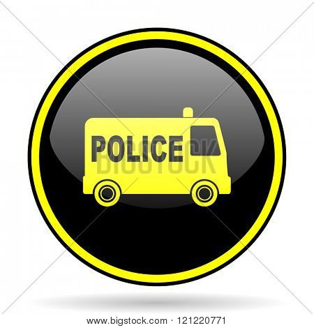police black and yellow modern glossy web icon