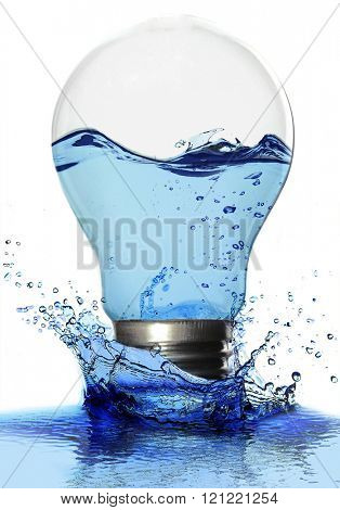 Light bulb with water and in water splash isolated on white