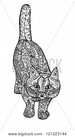 Adult Antistress Coloring Illustration. Painted the cat black and white image. Hand drawn doodle.