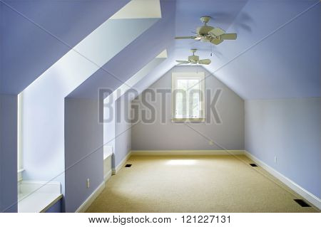 empty attic bedroom, place your own furniture