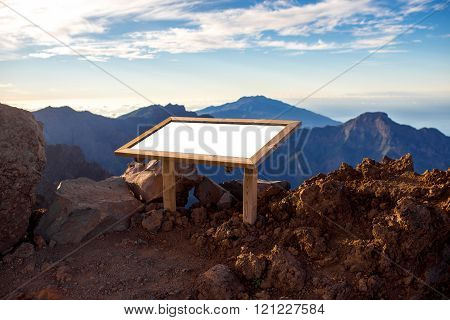 Mountain landscape with Information board