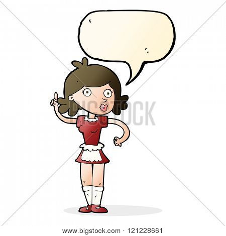 cartoon surprised maid with speech bubble