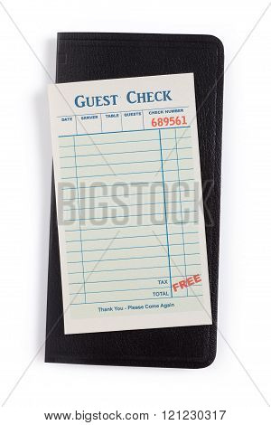 a Blank Guest Check with white background