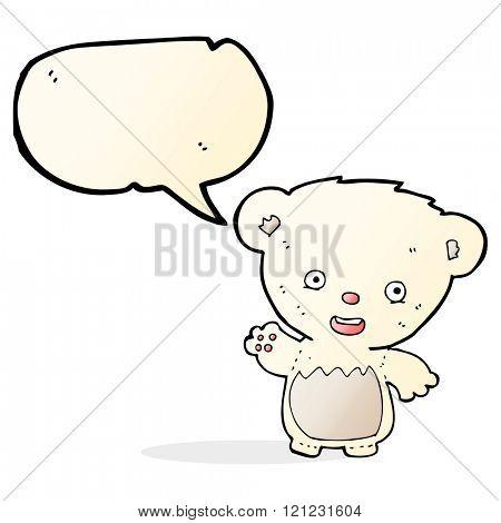 cartoon polar bear cub waving with speech bubble