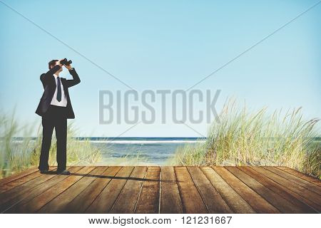 Businessman Alone Looking Explore Searching Concept