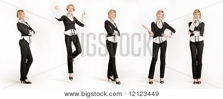 Five young happy businesswoman different poses