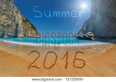 Summer 2016 Greece Zakynthos Concept with Pirate's Bay Sandy Beach Background