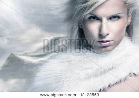 Fine art portrait of a beautiful lady in fur