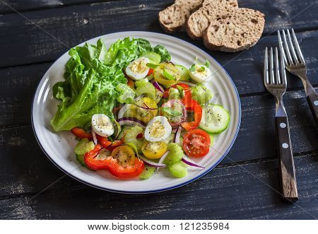 Fresh Salad With Cherry Tomatoes, Cucumbers, Sweet Peppers, Celery And Quail Eggs. Healthy Tasty Foo
