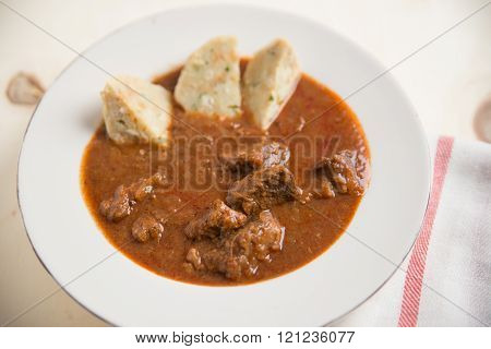Home made goulash with dumplings