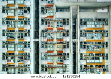 Old Crowded Apartments In Hong Kong