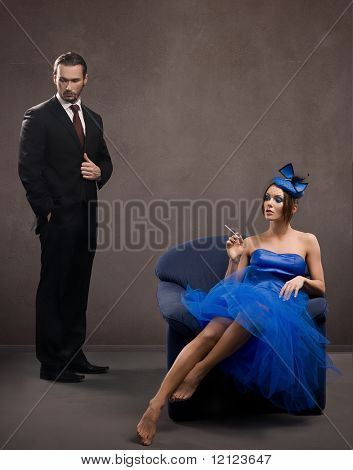 Fine art portrait of a beautiful couple, lots of copy space