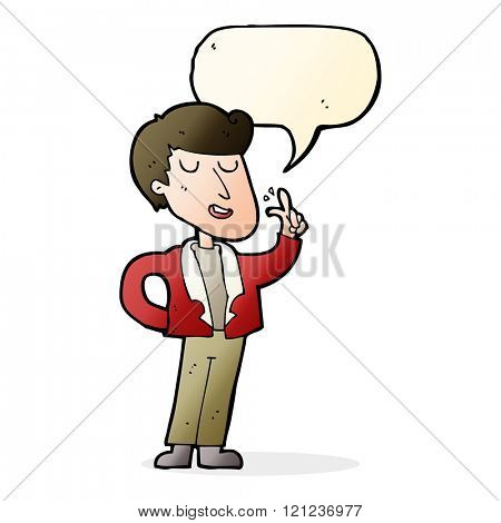cartoon cool guy snapping fingers with speech bubble