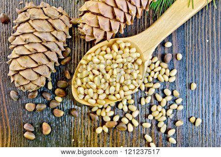 Cedar nuts refined in spoon on board