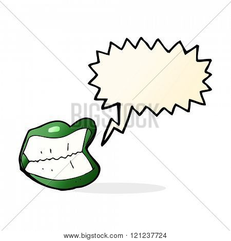 cartoon grinning halloween mouth with speech bubble