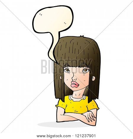 cartoon girl with folded arms with speech bubble