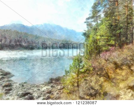 watercolor illustration of Altai Mountains reserved land 