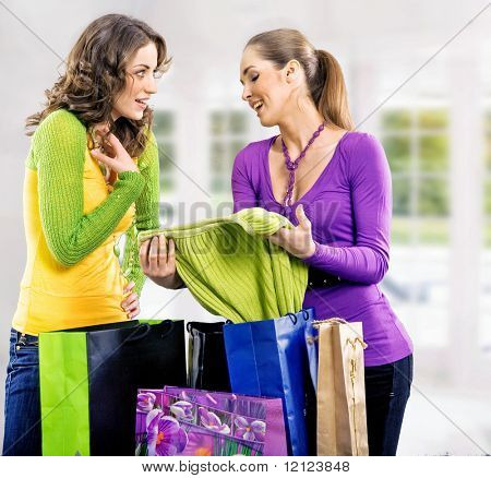 Two girls after shopping trip