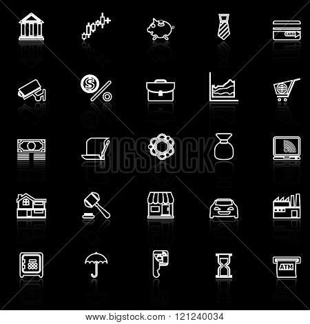 Banking and financial line icons with reflect on black stock vector