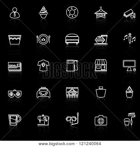 Franchisee business line icons with reflect on black stock vector
