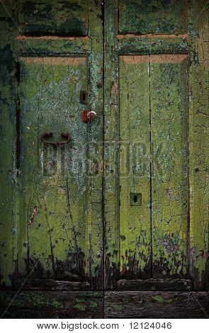 Old wooden door in an italian village