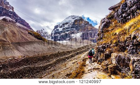 Hiking on the Trail to the Plain of Six Glaciers in Banff National Park in the Canadian Rocky Mountains