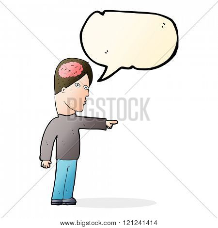 cartoon clever man pointing with speech bubble