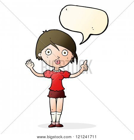 cartoon girl asking question with speech bubble