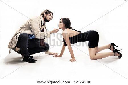Mann und Frau in frivolen Pose, isolated on white