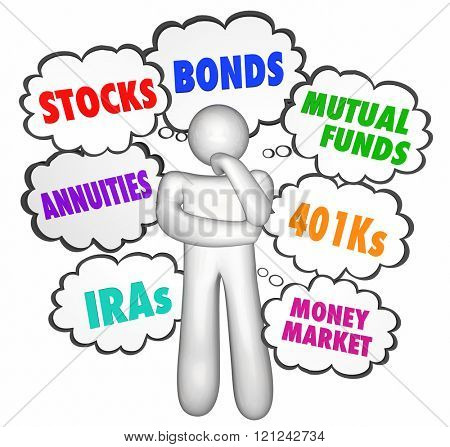 Financial Advice Thinker Thought Clouds Stocks Money Investments