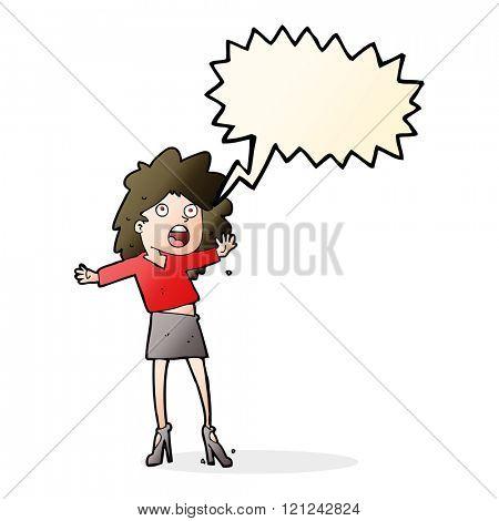 cartoon woman having trouble walking in heels with speech bubble