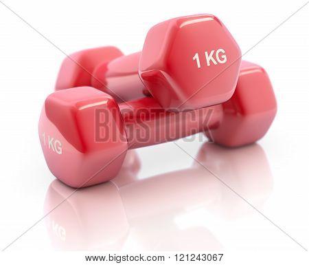 Red fitness dumbbells