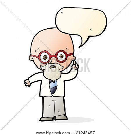 cartoon professor with speech bubble