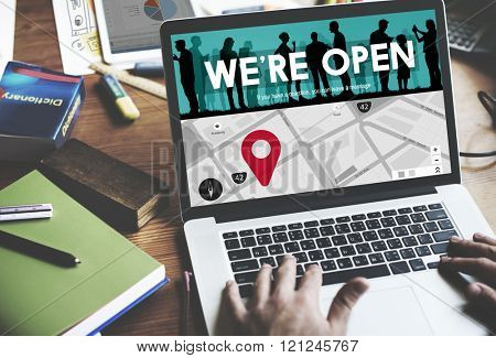 We Are Open Welcome  Welcoming Available Business Concept