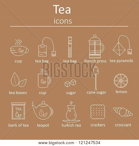 Set of web icons for tea. Set of icons in the style of line for tea.