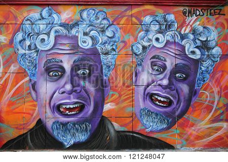 Mural art by artist  Mark Paul Deren, more commonly known as MADSTEEZ, in Little Italy in Manhattan