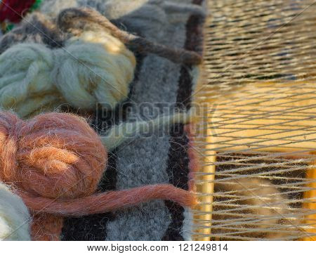 Part Of Vintage Wooden Loom With  Homemade Threads